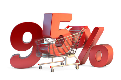 Shopping cart with 95% discount sign. 3D illustration. Isolated. Contains clipping path - slon.pics - free stock photos and illustrations