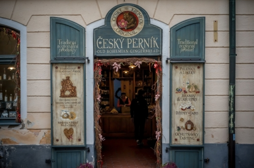 Souvenir shop of bohemian goods. Vintage handicraft shop in Old Town of Cesky Krumlov. Czech Republic - slon.pics - free stock photos and illustrations