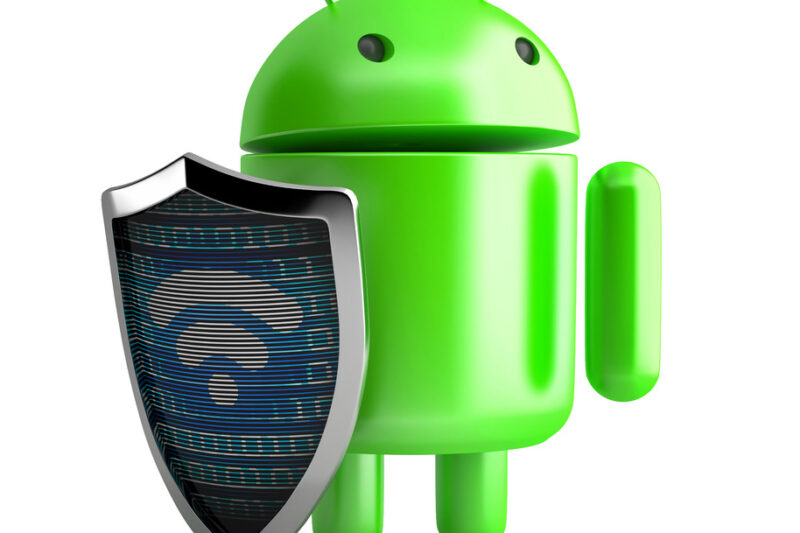 Android Robot with shield and wifi symbol on it. 3D illustration. Isolated. Contains clipping path - slon.pics - free stock photos and illustrations