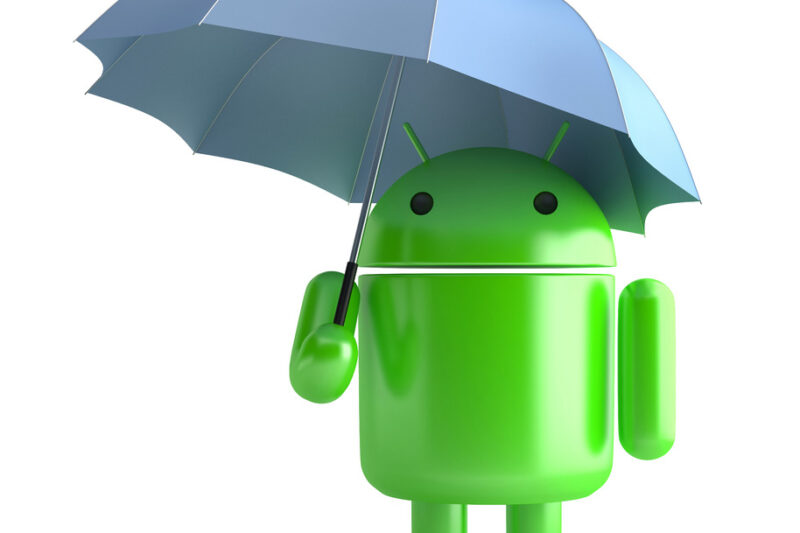 Android Robot with umbrella. 3D illustration. Isolated. Contains clipping path - slon.pics - free stock photos and illustrations