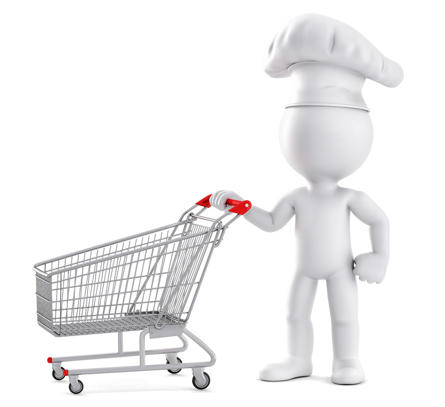 Chef with shopping cart. 3D illustration. Isolated. Contains clipping path - slon.pics - free stock photos and illustrations