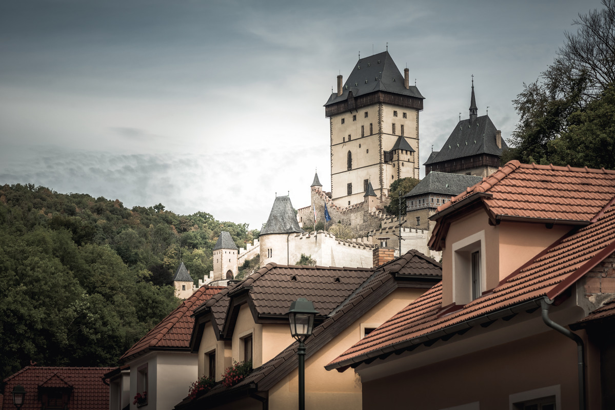 Karlatejn Castle, view from the village. Central Bohemia, Czech Republic - slon.pics - free stock photos and illustrations