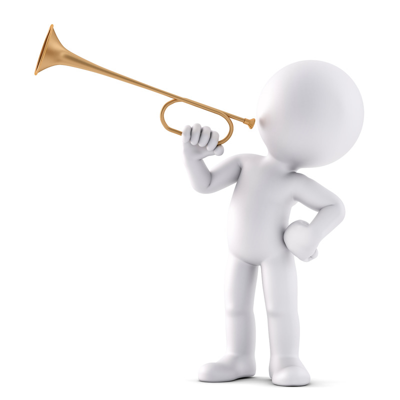 Man playing trumpet. 3D illustration. Isolated. Contains clipping path - slon.pics - free stock photos and illustrations