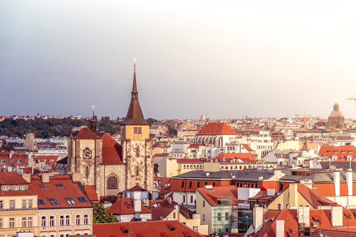 Saint Giles' Church and Prague cityscape. Czech Republic. - slon.pics - free stock photos and illustrations