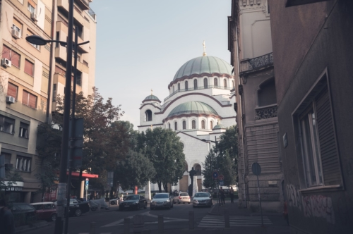 Saint Sava Cathedral seen from Svetog Save street. Belgrade, Serbia. September 24, 2015 - slon.pics - free stock photos and illustrations