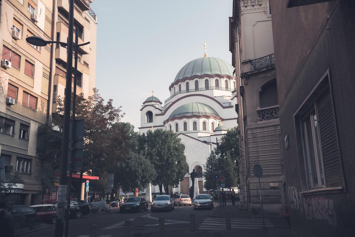 Saint Sava Cathedral seen from Svetog Save street. Belgrade, Serbia. September 24, 2015 - slon.pics - free stock photos and illustrations