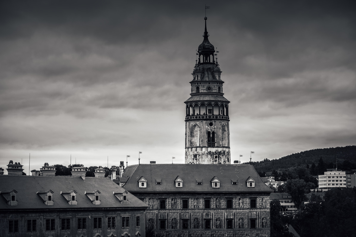 The tower of Cesky Krumlov Castle. Czech Republic - slon.pics - free stock photos and illustrations