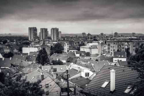 View of the old Zemun quarter with modern buildings on the horizon - slon.pics - free stock photos and illustrations