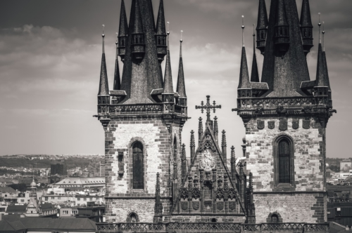 View of the towers of the Tyn Church. Prague, Czech Republic - slon.pics - free stock photos and illustrations