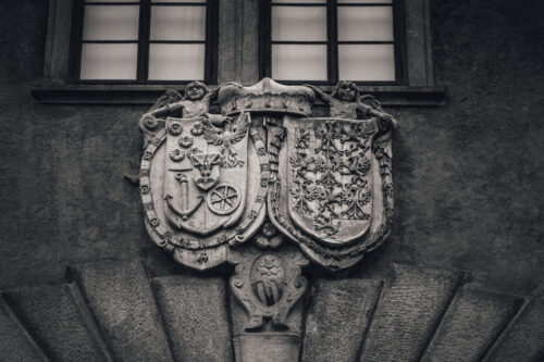 Alliance Coat-of-arms Eggenberg and Braniborg. Cesky Krumlov castle, Czech Republic - slon.pics - free stock photos and illustrations