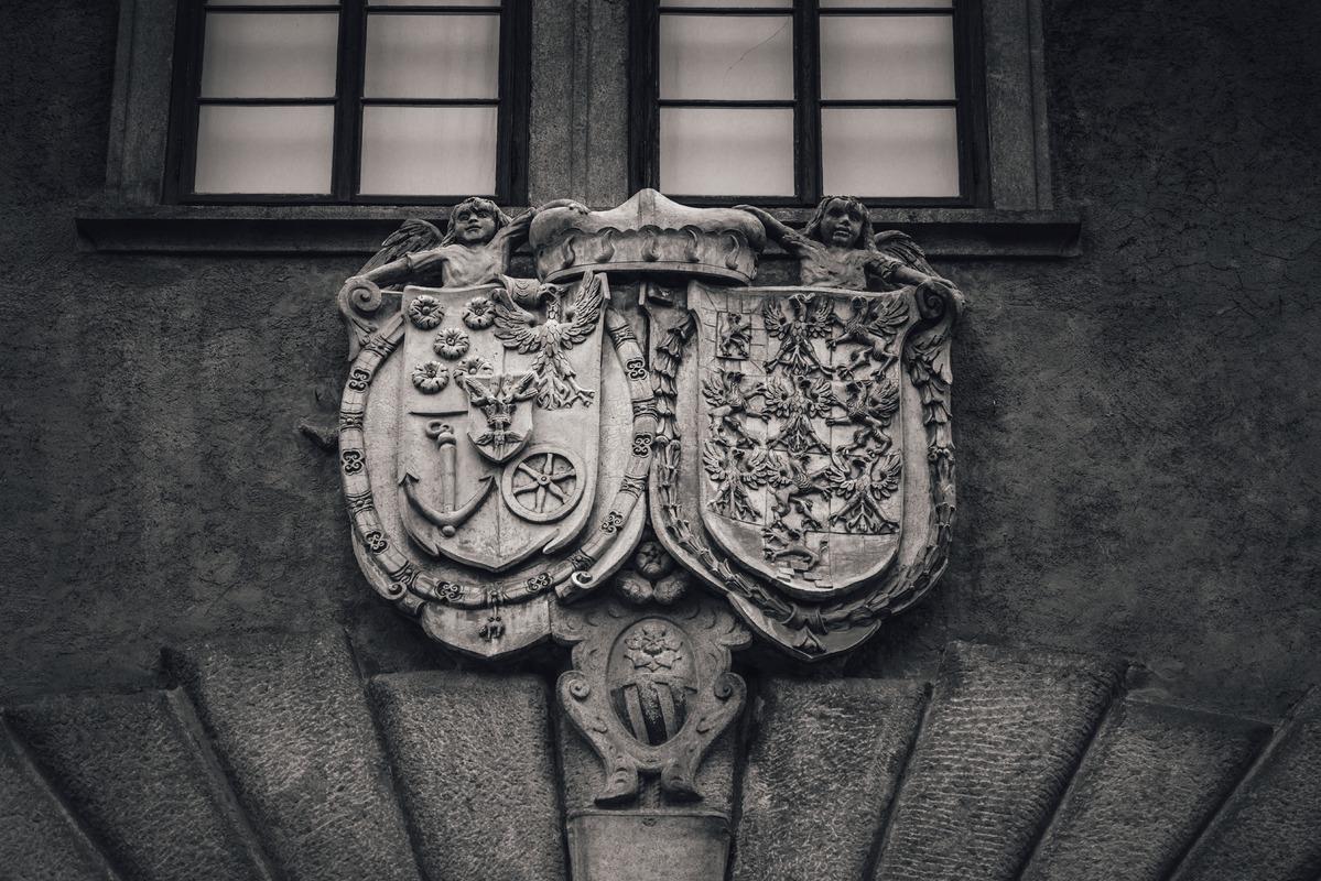 Alliance Coat-of-arms Eggenberg and Braniborg. Cesky Krumlov castle, Czech Republic - slon.pics - free stock photos and illustrations