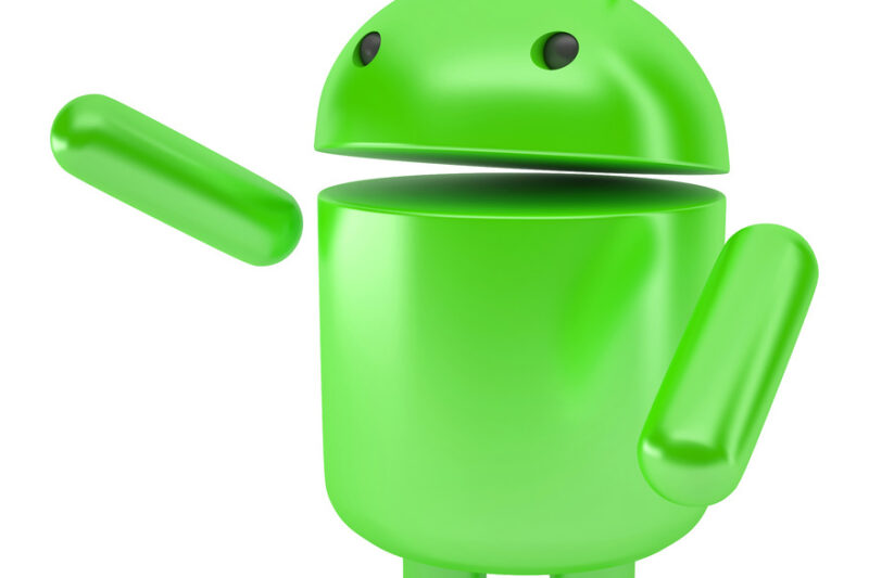 Android Robot pointing at invisible object. 3D illustration. Isolated. Contains clipping path - slon.pics - free stock photos and illustrations