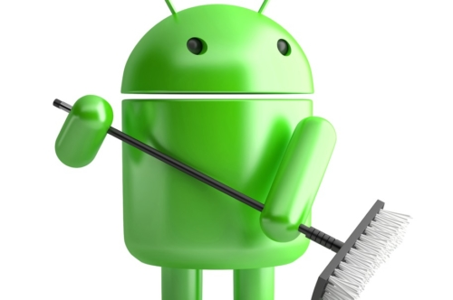 Android Robot with mop. 3D illustration. Isolated. Contains clipping path - slon.pics - free stock photos and illustrations
