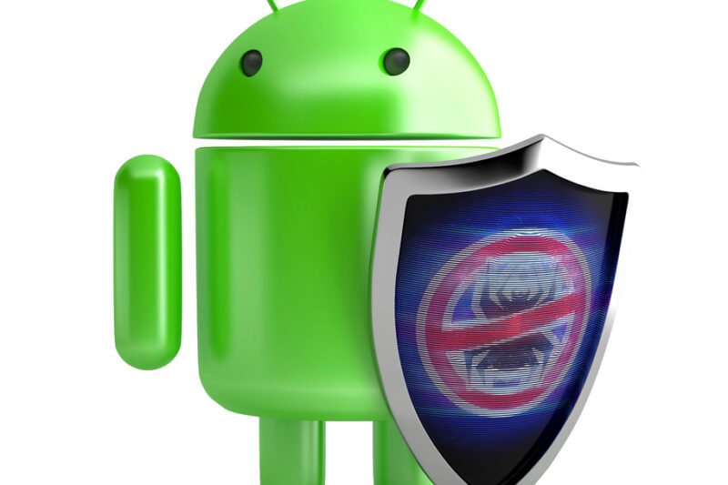 Android Robot with shield. 3D illustration. Isolated. Contains clipping path - slon.pics - free stock photos and illustrations
