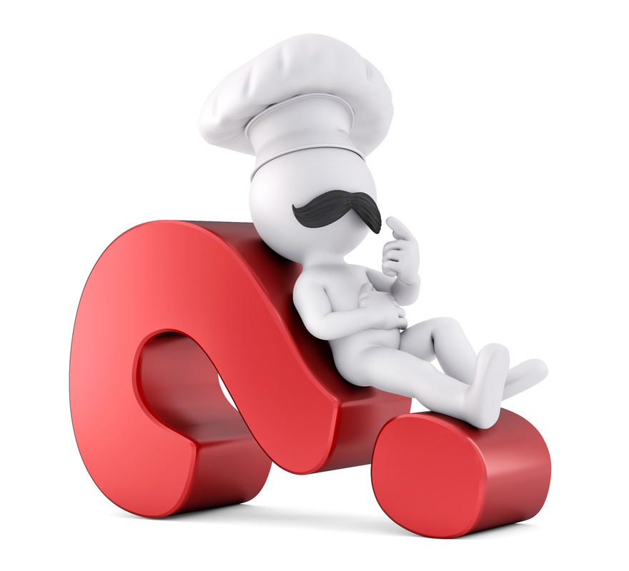 Chef laying on a red question mark. 3D illustration. Isolated. Contains clipping path - slon.pics - free stock photos and illustrations