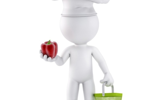 Chef with shopping basket inspect vegetable. 3D illustration. Isolated. Contains clipping path - slon.pics - free stock photos and illustrations