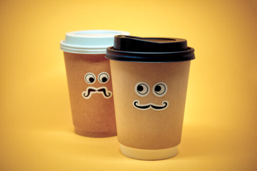 Coffee cup looking suspiciously - slon.pics - free stock photos and illustrations
