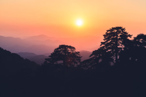 Colourful sunset over mountains silhouette - slon.pics - free stock photos and illustrations