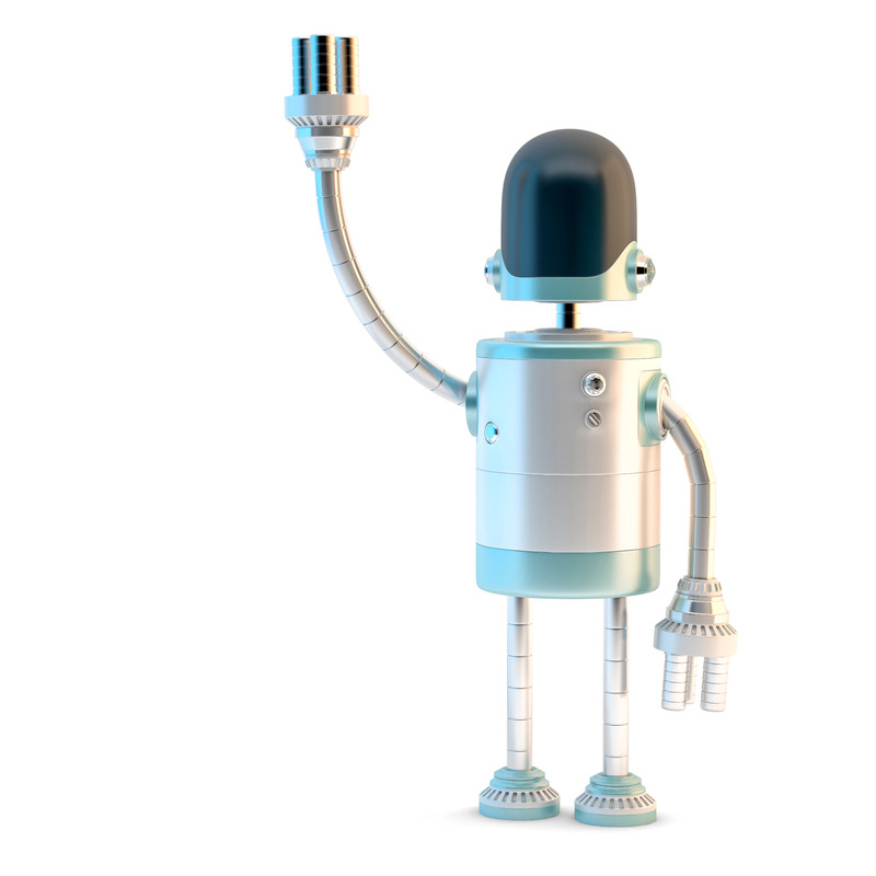 Cute cartoon robot character waving Hello. 3D illustration. Isolated. Contains clipping path - slon.pics - free stock photos and illustrations