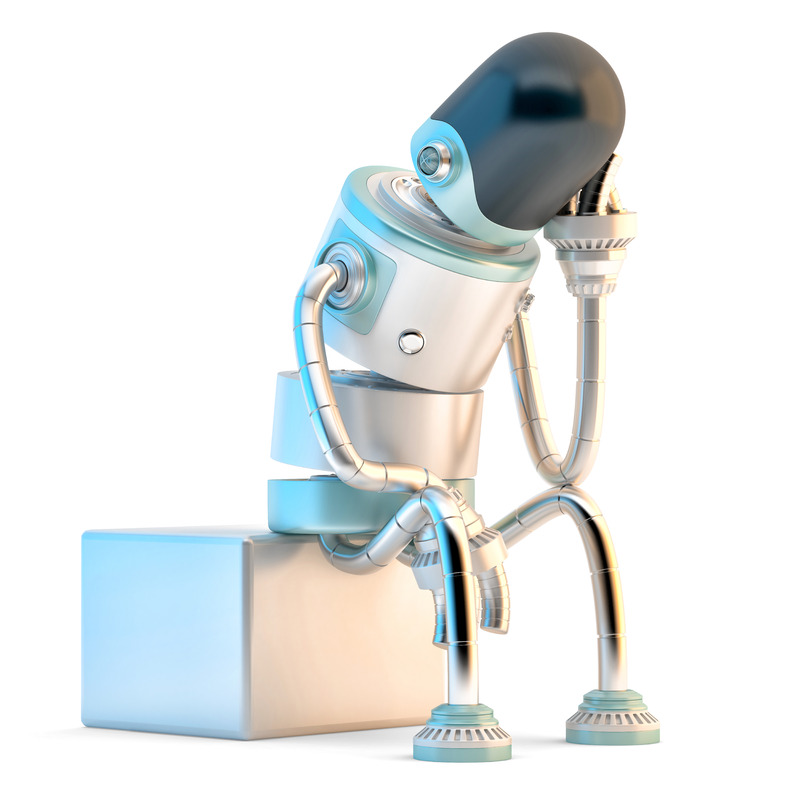 Depressed sad robot sitting on black. 3D illustration. Isolated. Contains clipping path - slon.pics - free stock photos and illustrations