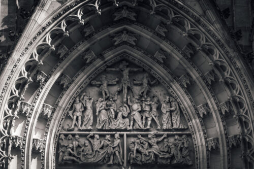 Entrance to St Vitus cathedral, relief depicting crucifixion of Christ. Prague, Czech Republic - slon.pics - free stock photos and illustrations