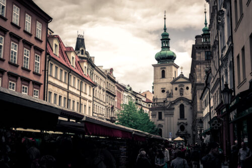 Havelska Street Market and Church of St. Gallen on background. Prague, Czech Republic. May 25, 2017 - slon.pics - free stock photos and illustrations