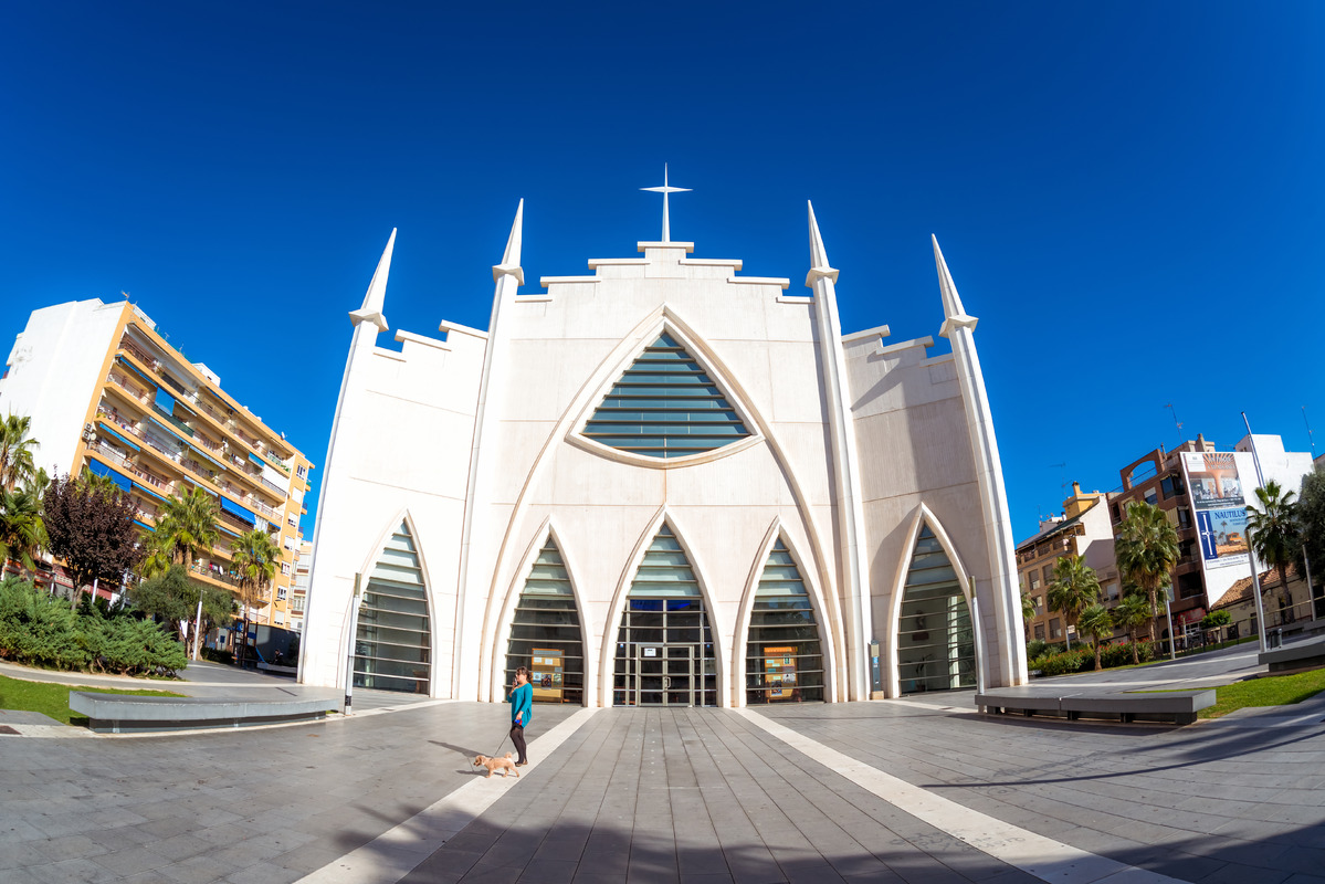 Iglesia del Sagrado Corazon de Jesus, Plaza de Oriente. Torrevieja, Spain. November 13, 2017 - slon.pics - free stock photos and illustrations