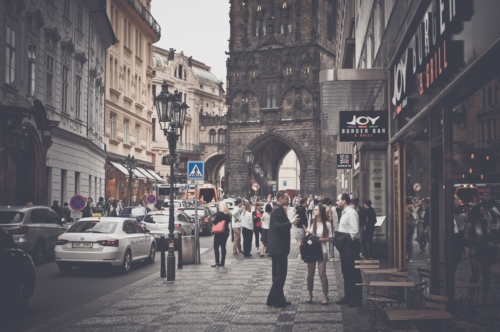 Lot of people on the street of Prague. Czech Republic. May 25, 2017 - slon.pics - free stock photos and illustrations