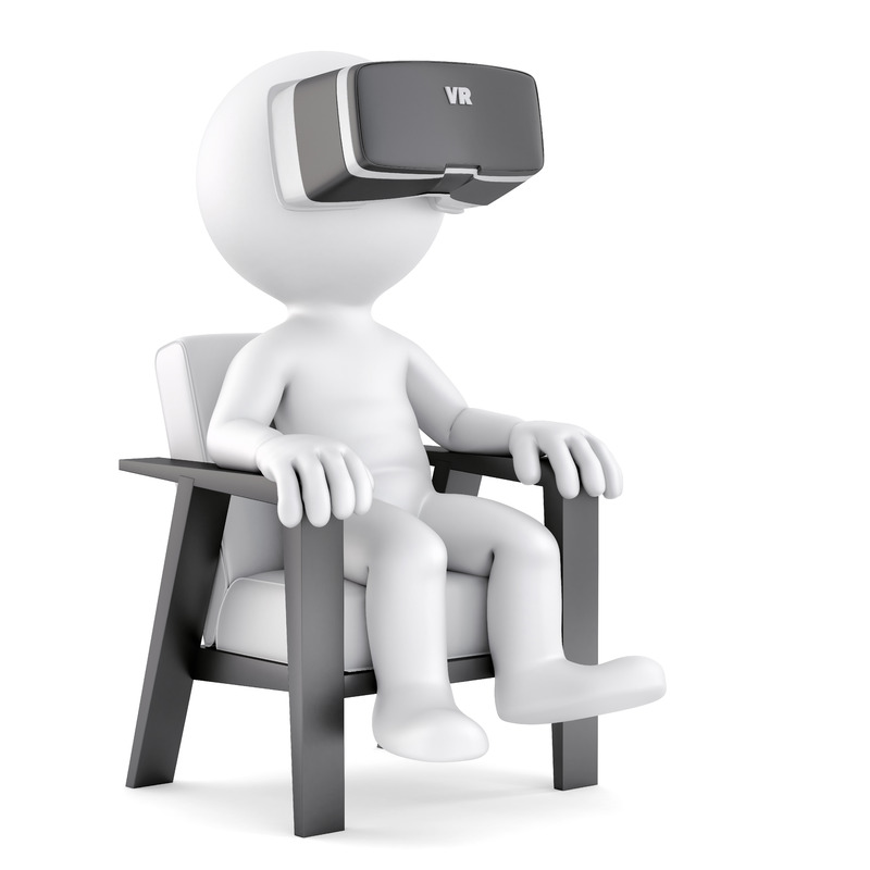 Man sitting on chair while using VR glasses. 3D illustration. Isolated. Contains clipping path - slon.pics - free stock photos and illustrations