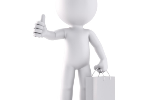 Man with shopping bag. 3D illustration. Isolated. Contains clipping path - slon.pics - free stock photos and illustrations