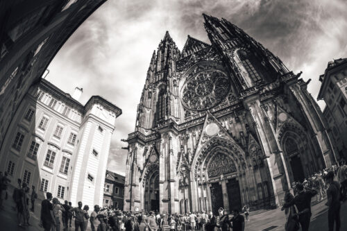 People at the entrance of St.Vitus Cathedral. Prague, Czech Republic. September 04, 2016 - slon.pics - free stock photos and illustrations