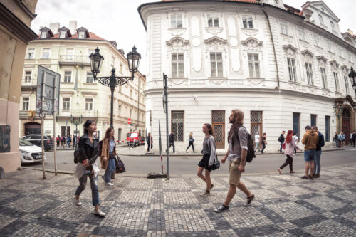 People walking on the Celetna street. Prague, Czech Republic. May 25, 2017 - slon.pics - free stock photos and illustrations