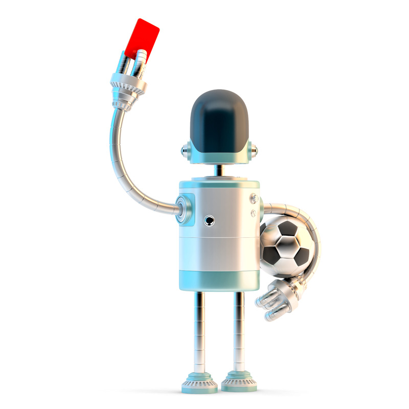 Robot Referee showing the red card. 3D illustration. Isolated. Contains clipping path - slon.pics - free stock photos and illustrations
