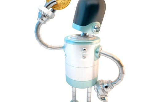 Robot hold bitcoin. 3D illustration. Isolated. Contains clipping path - slon.pics - free stock photos and illustrations
