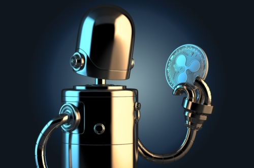 Robot holding Ripple coin. Technology concept. 3D illustration. Contains clipping path - slon.pics - free stock photos and illustrations