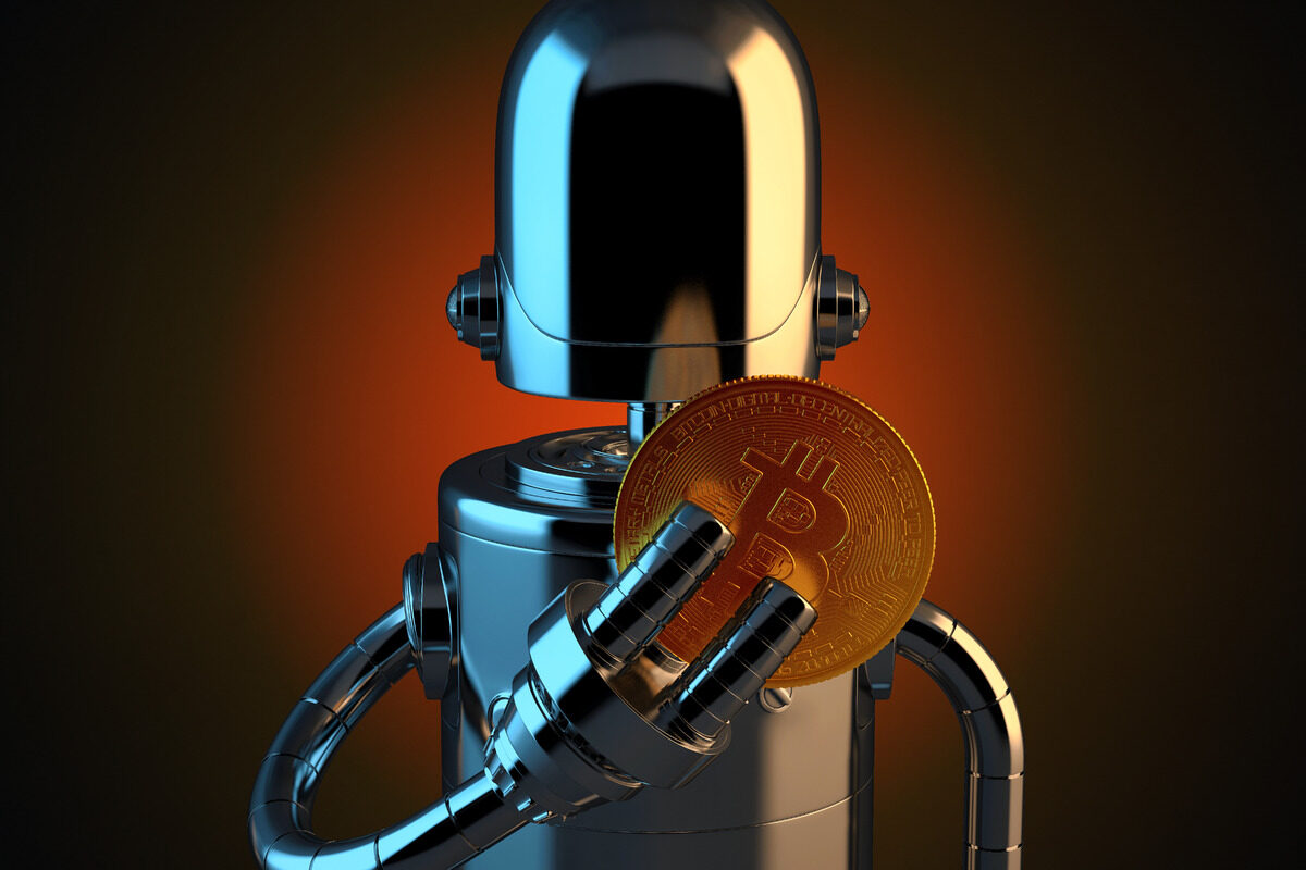 Robot holding bitcoin with fingers. 3D illustration. Contains clipping path - slon.pics - free stock photos and illustrations