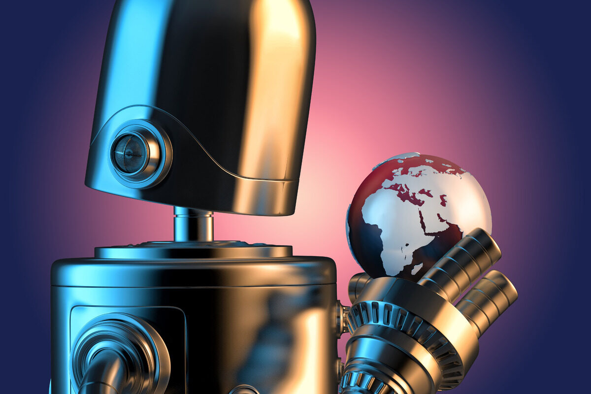 Robot holding earth globe. 3D illustration. Contains clipping path - slon.pics - free stock photos and illustrations