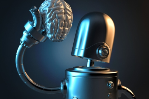 Robot holds a human brain in his hand. 3D illustration. Contains clipping path - slon.pics - free stock photos and illustrations