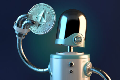 Robot looking at Ethereum coin. Technology concept. 3D illustration. Contains clipping path - slon.pics - free stock photos and illustrations