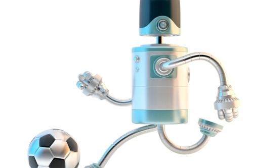 Robot playing football. 3D illustration. Isolated. Contains clipping path - slon.pics - free stock photos and illustrations