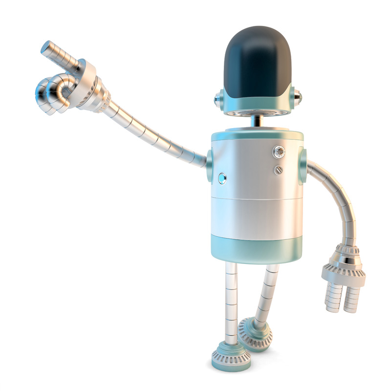 Robot pointing at something. 3D illustration. Isolated. Contains clipping path - slon.pics - free stock photos and illustrations