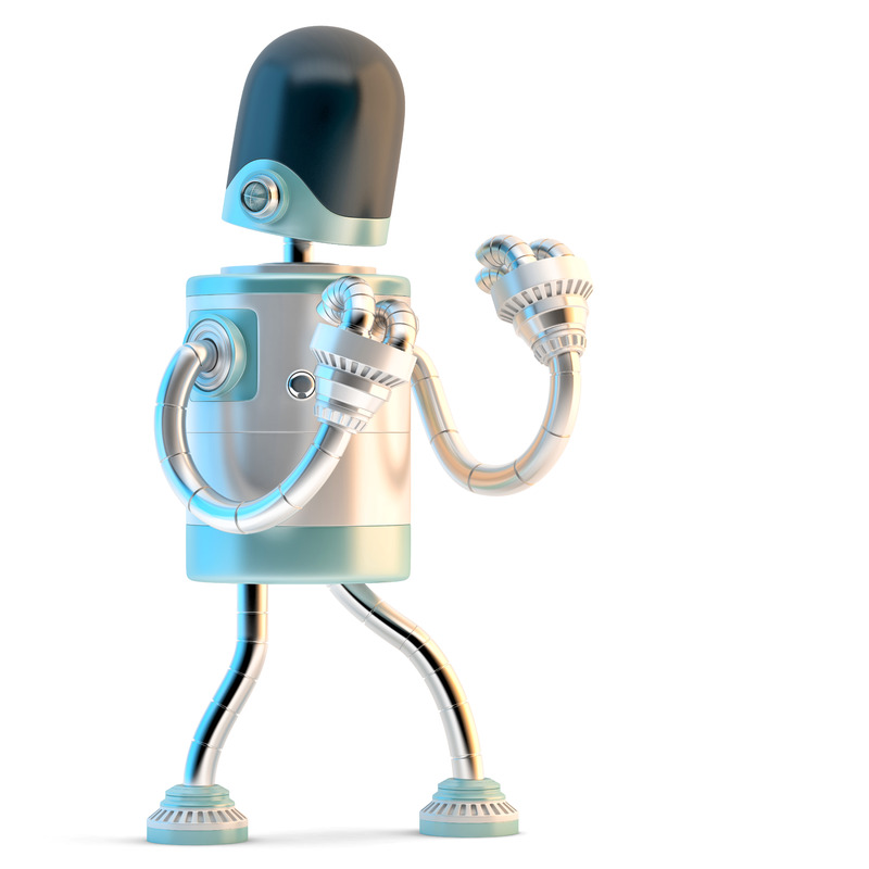 Robot stands in a fighting pose. 3D illustration. Isolated. Contains clipping path - slon.pics - free stock photos and illustrations