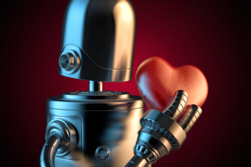 Robot with a red heart. 3D illustration. Contains clipping path - slon.pics - free stock photos and illustrations
