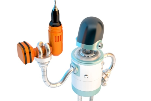 Robot with drill. 3D illustration. Isolated. Contains clipping path - slon.pics - free stock photos and illustrations