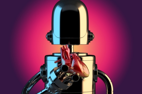 Robot with human heart in hands. Technology concept. 3D illustration. Contains clipping path - slon.pics - free stock photos and illustrations