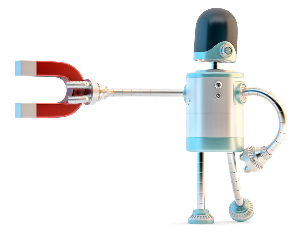 Robot with magnet. 3D illustration. Isolated. Contains clipping path - slon.pics - free stock photos and illustrations