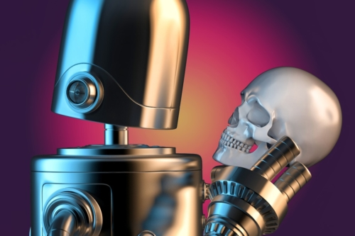 Robotic holding human skull. 3D illustration. Contains clipping path - slon.pics - free stock photos and illustrations