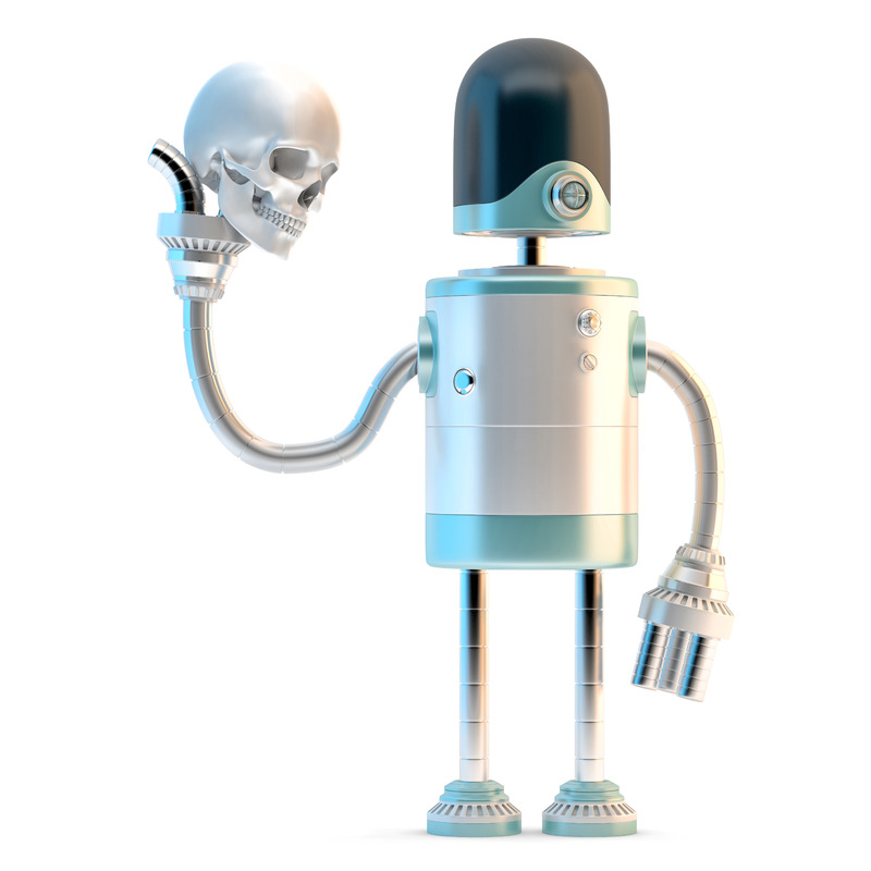 Robotic holding human skull. 3D illustration. Isolated. Contains clipping path - slon.pics - free stock photos and illustrations