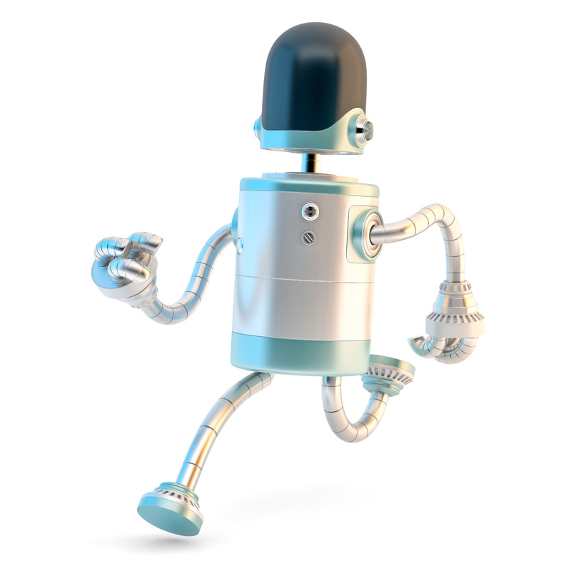 Running Robot. 3D illustration. Isolated. Contains clipping path - slon.pics - free stock photos and illustrations