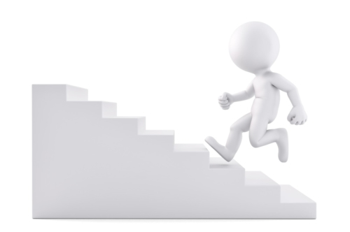 Running up the stair. 3D illustration. Isolated. Contains clipping path - slon.pics - free stock photos and illustrations